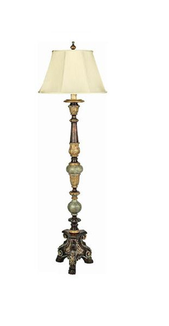 Luxe Life Carved Hardwood - 69 Inch Regency Style Floor Lamp - Rich Woodtone Finish with Gilt Accents