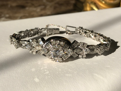 Glamour from the golden age of Hollywood, A Rare 5.09 Diamond Carat and 14K White Gold, Ladies 1950's Swiss, Mid-20th Century, Hebe Covered Dial Wrist Watch