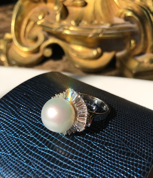 Glamorous Gabor Style South Sea Pearl and 3ct. Diamond Ring, 12.8mm Natural South Sea Pearl Center Flanked by 32 undulating Tapered Baguette Natural Diamonds, F-G Color, VS1-VS2 Clarity, 14K White Gold Semi-Mount, 10464