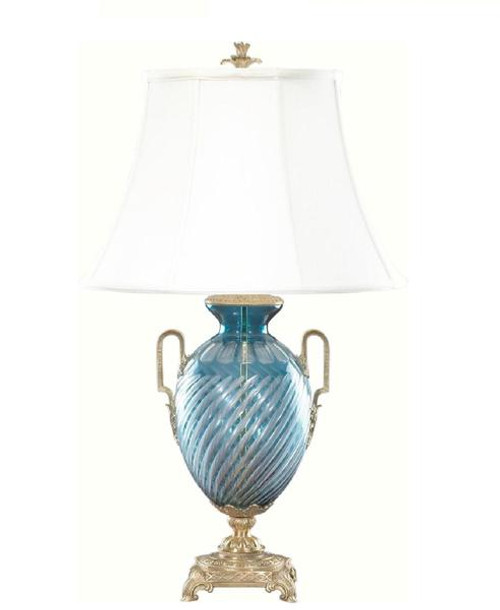 Luxe Life Finely Finished Blue Crystal Glass and Gilt Bronze Ormolu - 31 Inch Lamp with Bell Shade