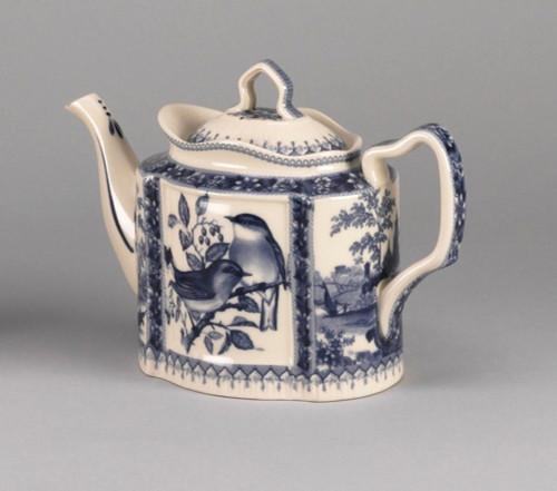 Blue and White Porcelain Transferware Decorative Teapot   Birds in Blue - 5d x 10.5L x 8t