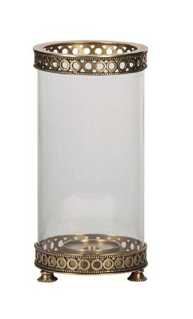 Luxe Life Solid Brass and Glass, 13 Inch Hurricane Candle Holder