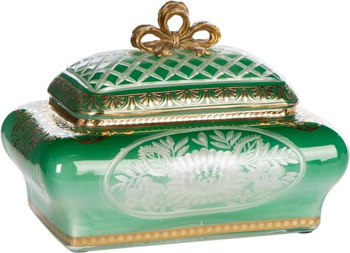 "Solid Brass and Cut Emerald Green Glass Decorative Container - 7"" - Luxe Life Brand"