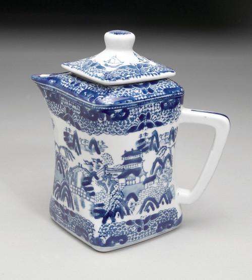 Blue and White Porcelain Transferware Decorative Teapot - 8t x 8L x 5.5d