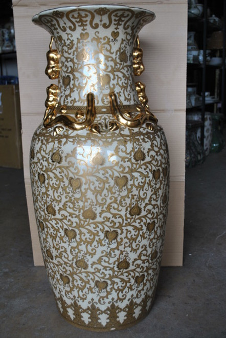 Ivory and Gold Lotus Scroll Arabesque - Luxury Handmade Reproduction Chinese Porcelain - Customizable 36 Inch Palace Vase | Jardiniere Style C79