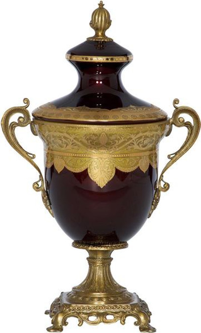 Luxe Life Finely Finished Hand Painted Glass and Gilt Bronze Ormolu, 17 Inch Decorative Container