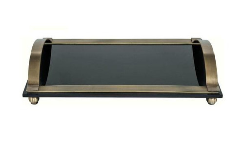 Luxe Life - Solid Brass and Thick Black Plate Glass, Ultra Mod, Display or Vanity Tray, Rectangular 16L X 10W X 3T