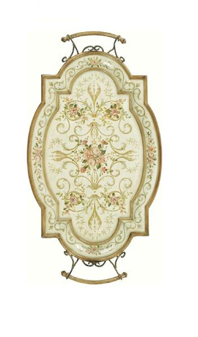 Luxe Life Hand Painted Hardwood, Flora and Flourish, Display or Serving Tray, Oval 30L X 16W