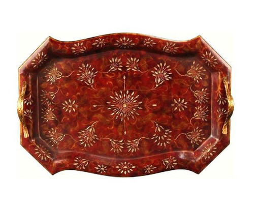 Luxe Life Coramandel Finished Hand Painted Hardwood, Rectangular 26 Inch Display or Serving Tray