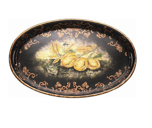 Luxe Life Hand Painted Hardwood, Oval 24 Inch Display or Serving Tray
