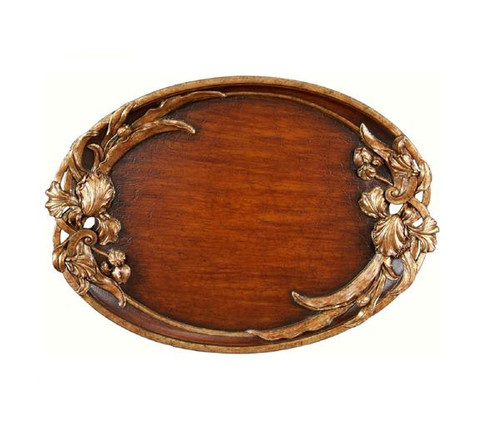 Luxe Life Hand Painted Hardwood, Oval 27 Inch Display or Serving Tray, Scalloped Edge