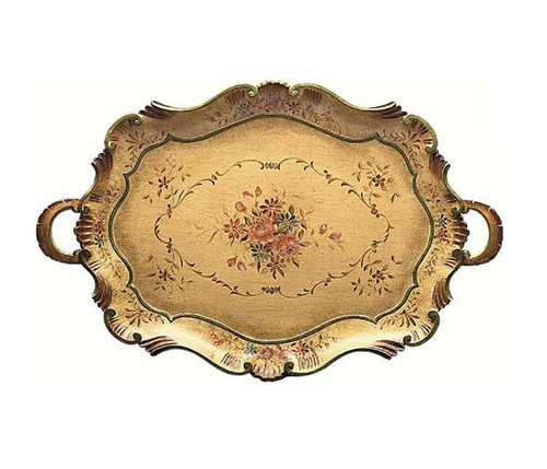 Luxe Life Hand Painted Hardwood, Oval 32 Inch Display or Serving Tray, Serpentine Edge