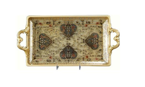 Luxe Life Finely Finished Hand Painted Glass and Gilt Bronze Ormolu, 16 Inch Decorative Tray