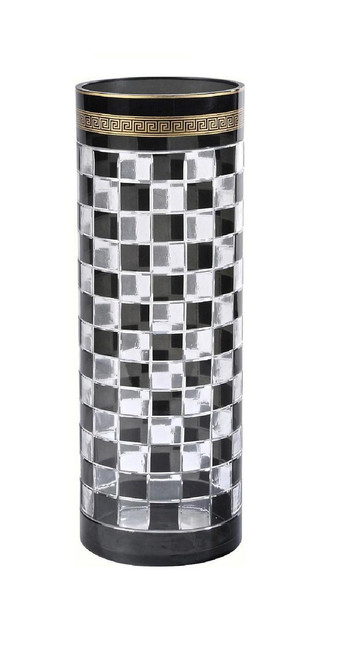 Luxe Life Finely Finished Black and White Checkerboard Glass, 14 Inch Tabletop | Mantel Vase