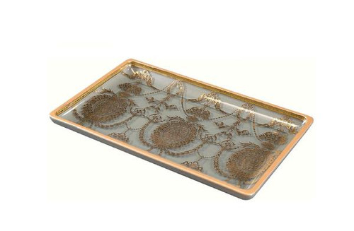 Luxe Life - Light Blue Finely Finished Hand Painted Glass, Louis XVI Decorative Tray, 14L x 8.5w x 1.5t