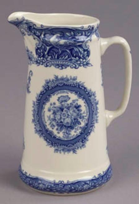 Blue and White Porcelain Transferware Decorative Pitcher | Vase - 5w X 4d X 7t
