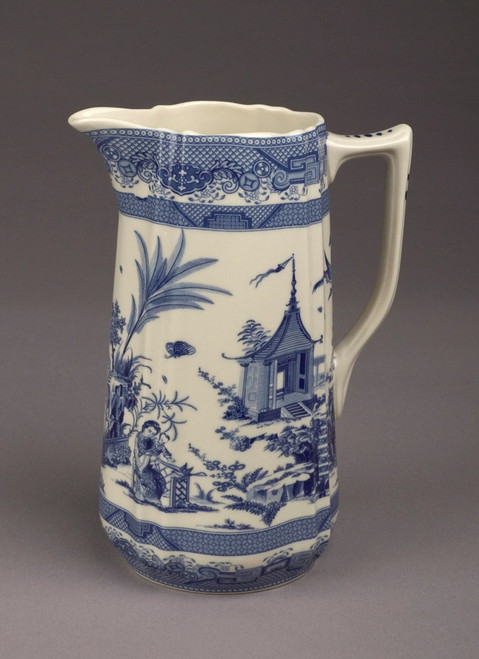 Blue and White Porcelain Transferware Decorative Pitcher | Vase - 8t x 6w x 4.25d