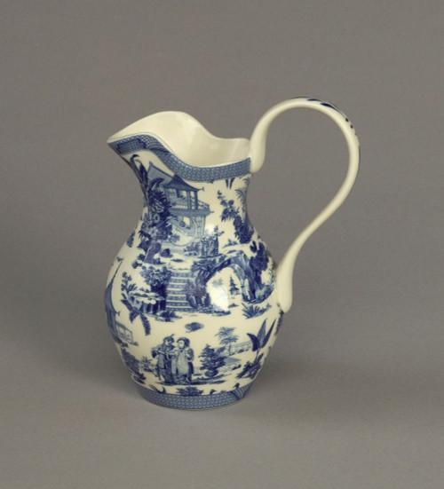 Blue and White Porcelain Transferware Decorative Pitcher - 6w X 4d X 7.5t
