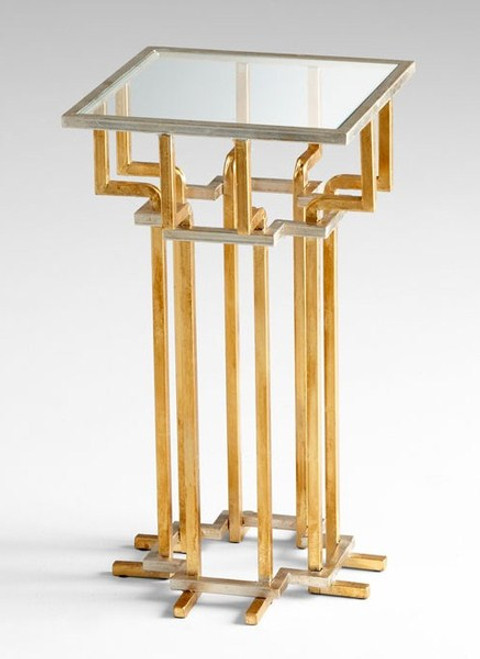 Hand Forged Iron and Glass - 13.5 Inch Square Accent | Side | End Table - Gold Leaf Finish