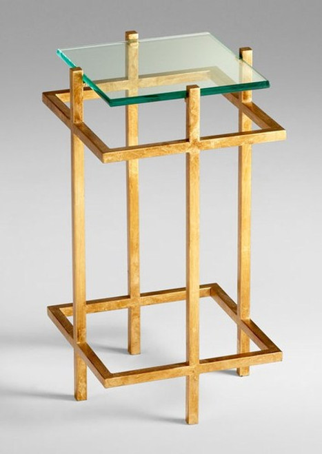 Hand Forged Iron and Glass - 13.75 Inch Square Accent | Side | End Table - Gold Leaf Finish