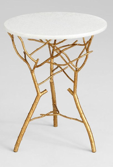 Hand Forged Iron and Marble - 23.25 Inch Accent | Side | End Table - Gold Leaf Finish