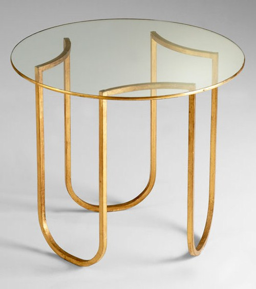 Hand Forged Iron and Glass - 25 Inch Round Accent | Side | End Table - Gold Leaf Finish