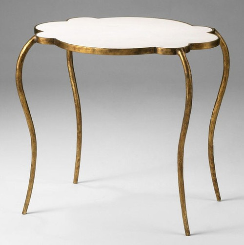 Hand Forged Iron and Marble - 29.25 Inch Accent | Side | End Table - Gold Finish