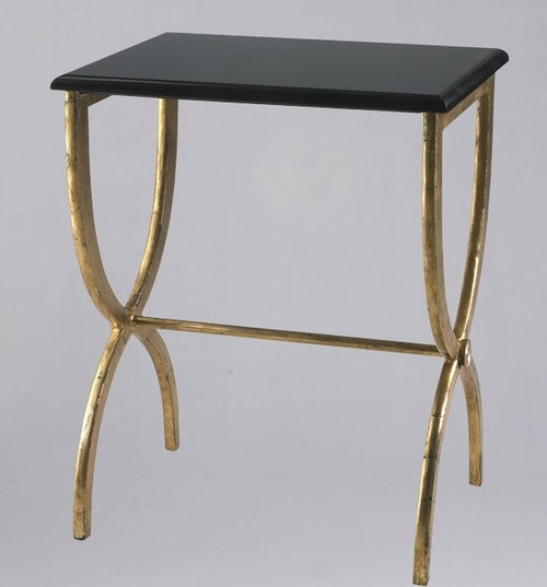 Hand Forged Iron and Marble - 25 Inch Accent | Side | End Table - Gold Finish