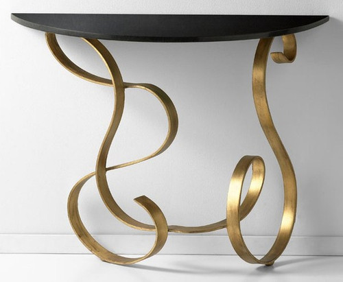 Scrolled Iron and Granite - 27.5t x 14d x 35.75L Sofa | Console Table - Gold Finish