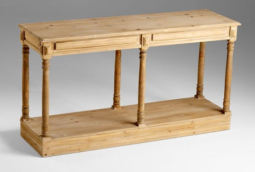 Country French - 59 Inch Console Table | Sideboard - Natural Wood Finish