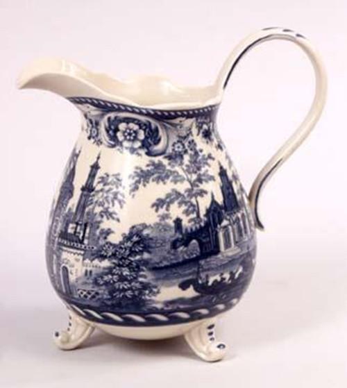 Blue and White Porcelain Transferware Decorative Pitcher | Vase - 7.5t x 7L x 5d