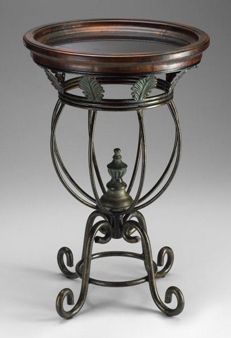 Acanthus Design Scrolled Iron and Wood - Accent Side | End Table - 16 Inch Round
