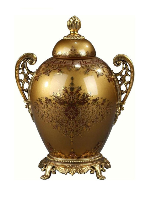 Luxe Life Finely Finished Hand Painted Glass and Gilt Bronze Ormolu, 9 Inch Tabletop   Mantel Urn