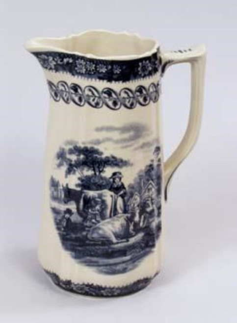 Blue and White Porcelain Transferware Decorative Pitcher | Vase - 8t x 6w x 4.75d