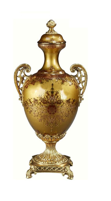 Luxe Life Finely Finished Hand Painted Glass and Gilt Bronze Ormolu, 17 Inch Tabletop   Mantel Urn