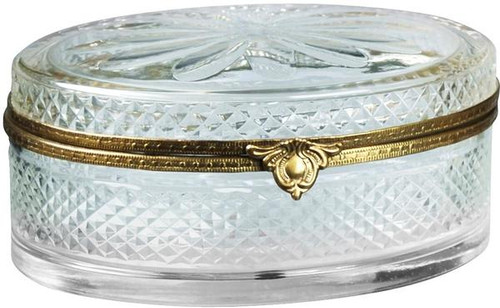 Luxe Life Finely Finished Clear Ice Cut Glass and Gilt Bronze Ormolu, 6 Inch Decorative Covered Box