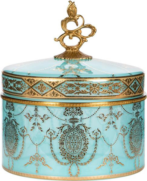 Blue and Gold - Luxe Life Finely Finished Hand Painted Glass and Gilt Bronze Ormolu, 8 Inch Decorative Covered Box