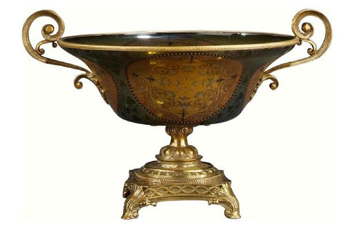 Luxe Life Finely Finished Hand Painted Glass and Gilt Bronze Ormolu, 16 Inch Decorative | Centerpiece Pedestal Bowl