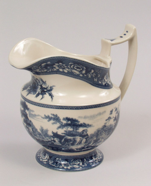 Blue and White Porcelain Transferware Decorative Pitcher | Vase - 6d x 8t x 8w
