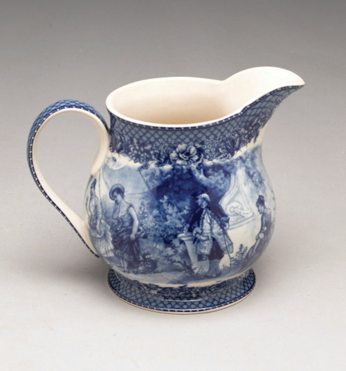 Blue and White Porcelain Transferware Decorative Pitcher - 6.5t x 8.5L x 6d