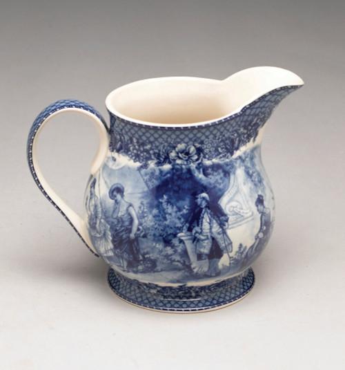Blue and White Porcelain Transferware Decorative Pitcher - 6.5t x 8.5L x 6d