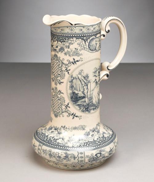 Blue and White Porcelain Transferware Decorative Pitcher | Vase - 14t x 10w x 8.5d