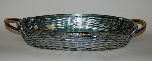 Basket Weave Aluminum, 16L Oval Frame Tray & Glass Bakeware with Polished Brass Accents, Set of Two