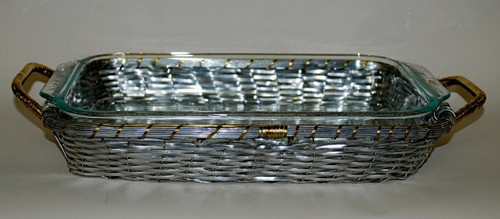 Basket Weave Aluminum, 13.25L Frame Tray & Glass Bakeware with Polished Bronze Accents, Set of Two