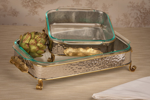 Forged Metal and Indian Brass, 15.5 x 10.5Inch Frame Tray & Glass Bakeware, Polished Nickle and Bronze Finish, Set of Two
