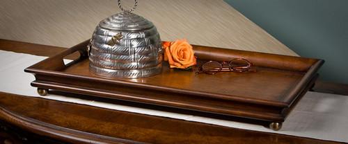 Classic Style, Mahogany Hardwood, 24 Inch Decorative | Serving Tray, Rich Wood Finish