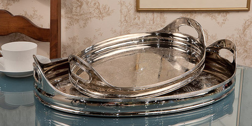 Embossed Indian Brass, 21 Inch Oval Decorative | Serving Tray, Polished Nickel Finish