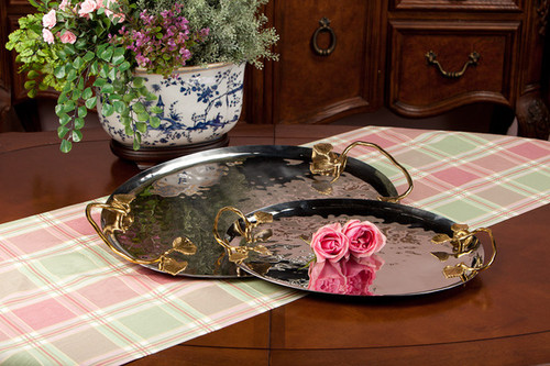 Forged Metal and Indian Brass, Oval Decorative | Serving Tray, Polished Nickel and Bronze Finish, 24L X 15w