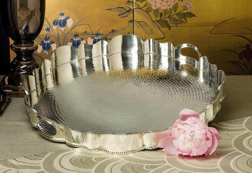Forged Indian Brass, 19 Inch Round Scalloped Tray, Aged Silver Finish