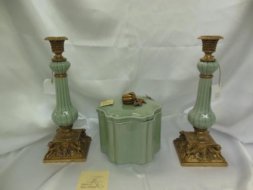 Lyvrich Fine Handmade d'oro Ormolu Elegant Porcelain - Griffin Candlestick Pair - Celadon Minuscule Crackle - 14.5t X 5.5w X 5.5d